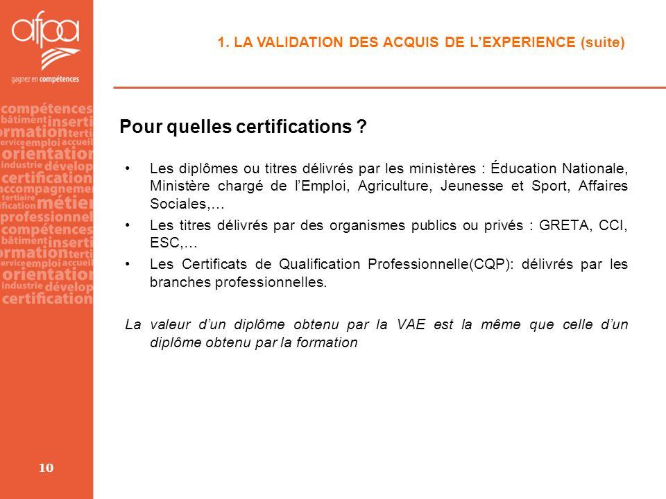 10 1. LA VALIDATION DES ACQUIS DE LEXPERIENCE (suite) Pour quelles certifications ? Les diplômes ou titres délivrés par les ministères : Éducation Nat
