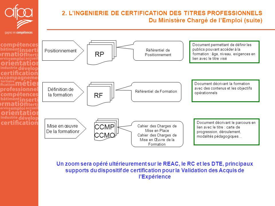Un zoom sera opéré ultérieurement sur le REAC, le RC et les DTE, principaux supports du dispositif de certification pour la Validation des Acquis de l