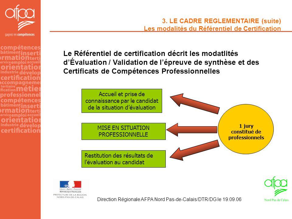 3. LE CADRE REGLEMENTAIRE (suite) Les modalités du Référentiel de Certification Le Référentiel de certification décrit les modatlités dÉvaluation / Va