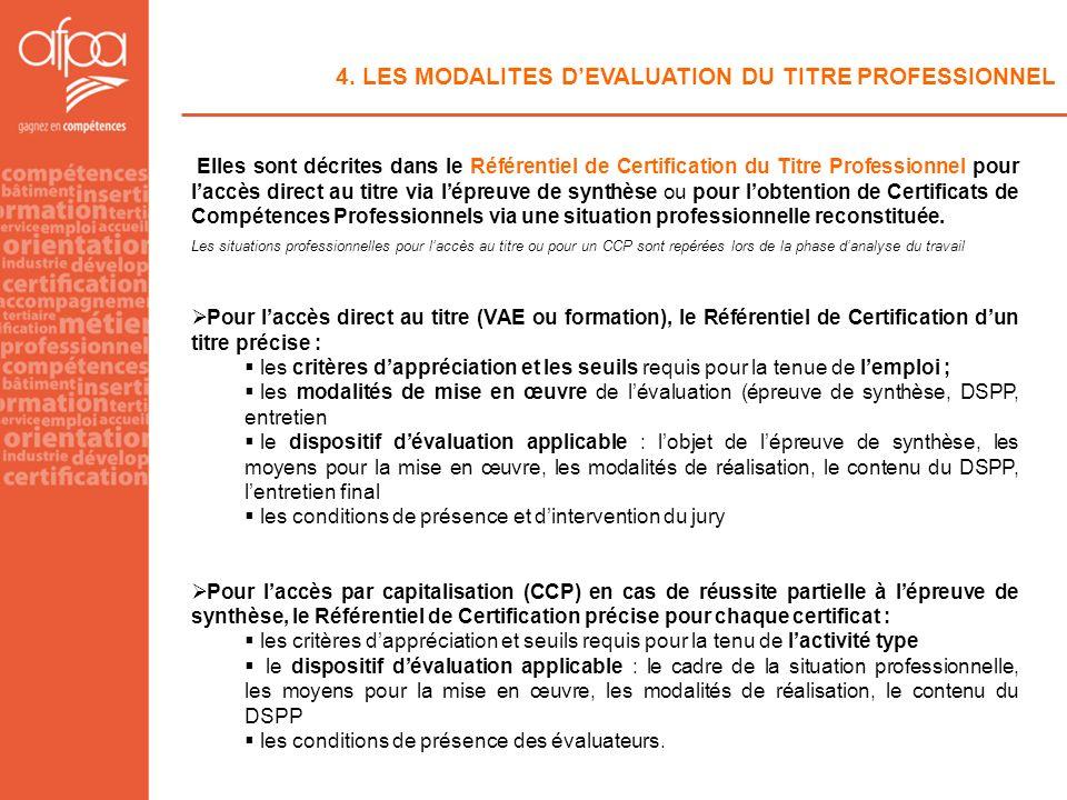4. LES MODALITES DEVALUATION DU TITRE PROFESSIONNEL Elles sont décrites dans le Référentiel de Certification du Titre Professionnel pour laccès direct