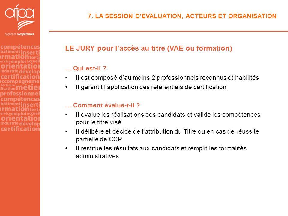 7. LA SESSION DEVALUATION, ACTEURS ET ORGANISATION LE JURY pour laccès au titre (VAE ou formation) … Qui est-il ? Il est composé dau moins 2 professio