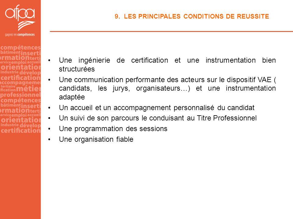 9. LES PRINCIPALES CONDITIONS DE REUSSITE Une ingénierie de certification et une instrumentation bien structurées Une communication performante des ac