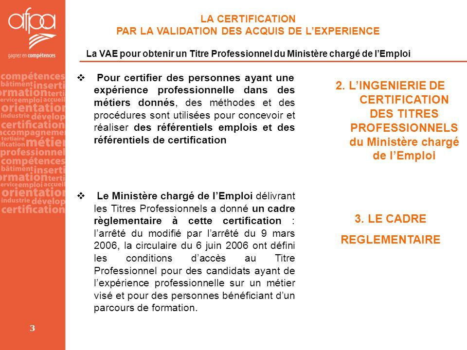 3 LA CERTIFICATION PAR LA VALIDATION DES ACQUIS DE LEXPERIENCE La VAE pour obtenir un Titre Professionnel du Ministère chargé de lEmploi Pour certifie