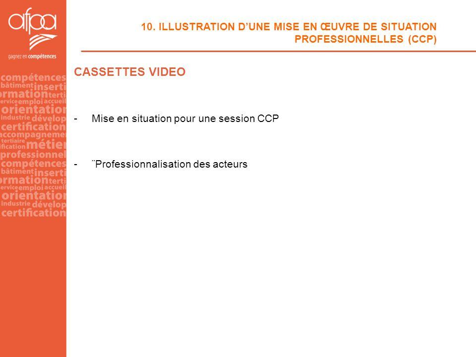 10. ILLUSTRATION DUNE MISE EN ŒUVRE DE SITUATION PROFESSIONNELLES (CCP) CASSETTES VIDEO -Mise en situation pour une session CCP -¨Professionnalisation