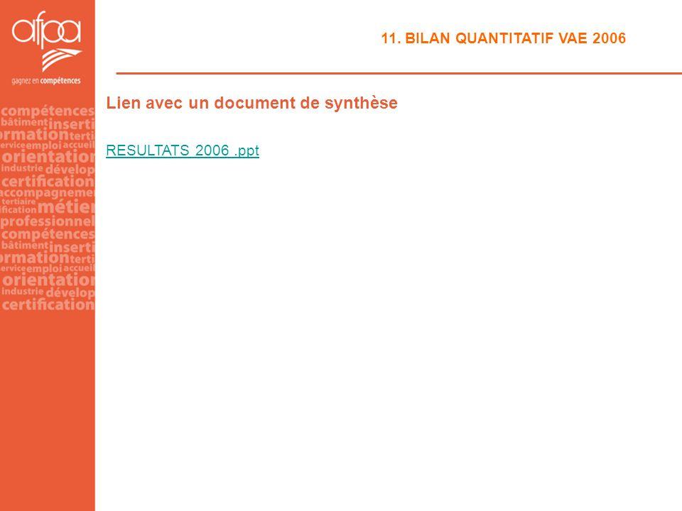 11. BILAN QUANTITATIF VAE 2006 Lien avec un document de synthèse RESULTATS 2006.ppt