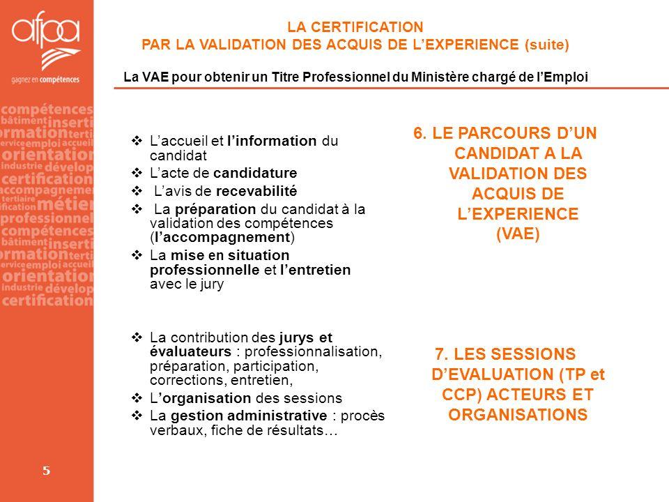 5 LA CERTIFICATION PAR LA VALIDATION DES ACQUIS DE LEXPERIENCE (suite) La VAE pour obtenir un Titre Professionnel du Ministère chargé de lEmploi Laccu
