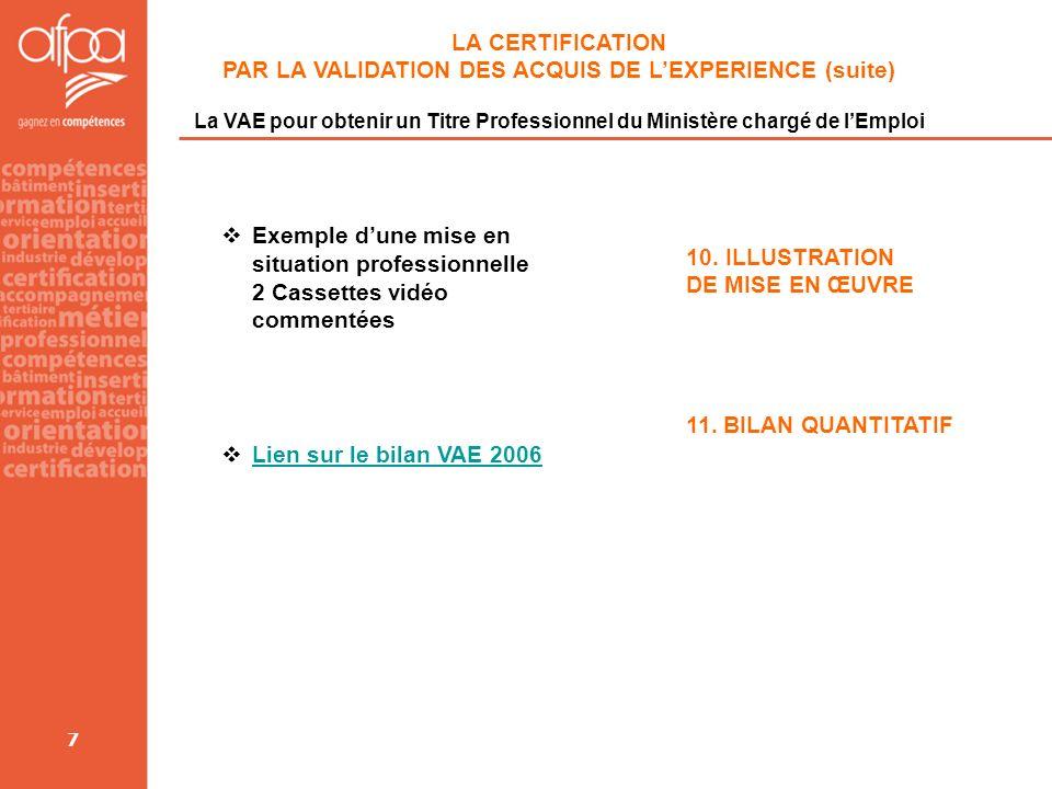 7 LA CERTIFICATION PAR LA VALIDATION DES ACQUIS DE LEXPERIENCE (suite) La VAE pour obtenir un Titre Professionnel du Ministère chargé de lEmploi Exemp