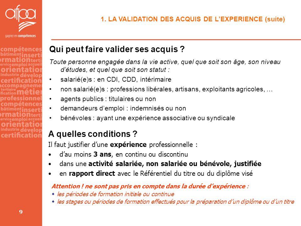 9 1. LA VALIDATION DES ACQUIS DE LEXPERIENCE (suite) Qui peut faire valider ses acquis ? Toute personne engagée dans la vie active, quel que soit son