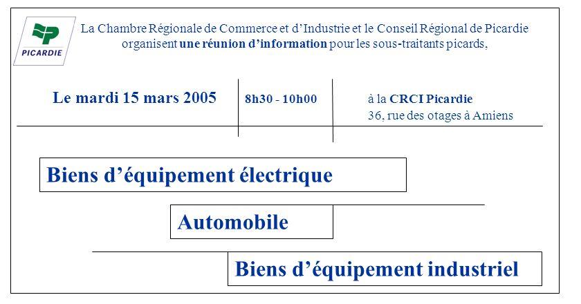 La Chambre Régionale de Commerce et dIndustrie et le Conseil Régional de Picardie organisent une réunion dinformation pour les sous-traitants picards,