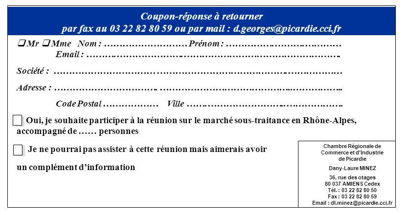 Mr Mme Nom : ……………………… Prénom : …………….……….………… Email : ……….………………….……………………………………………. Société : …………………………… …………………………………….……………… Adresse : …………………………