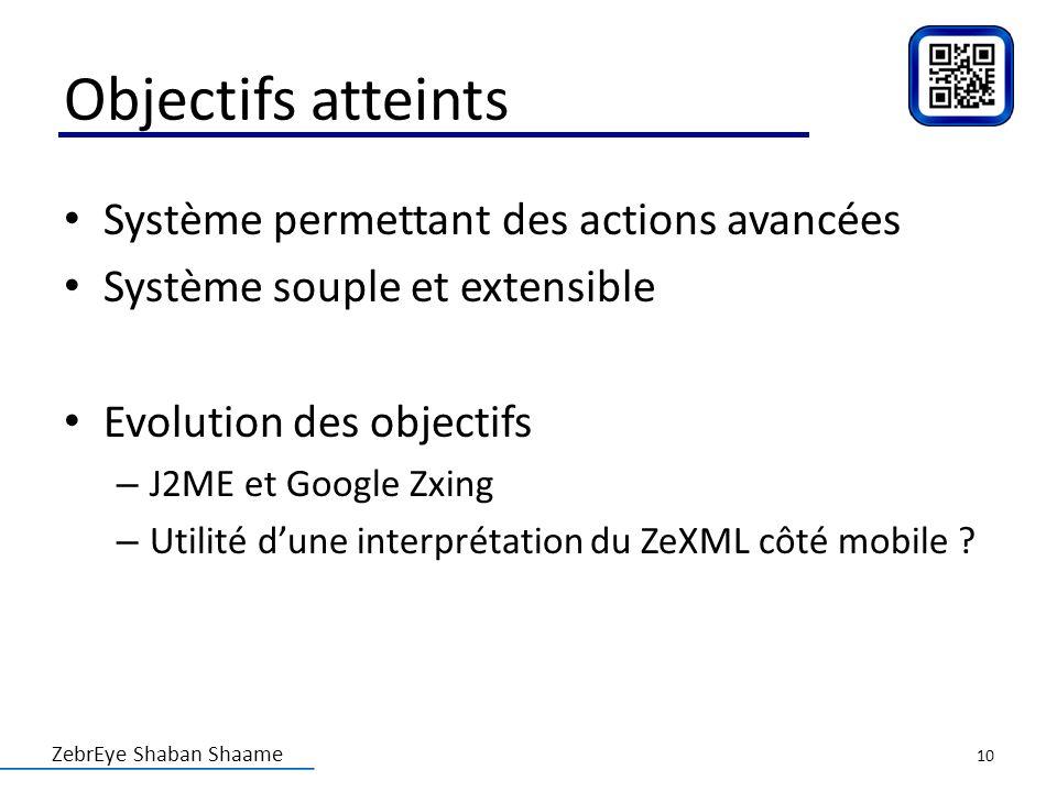 ZebrEye Shaban Shaame Objectifs atteints Système permettant des actions avancées Système souple et extensible Evolution des objectifs – J2ME et Google
