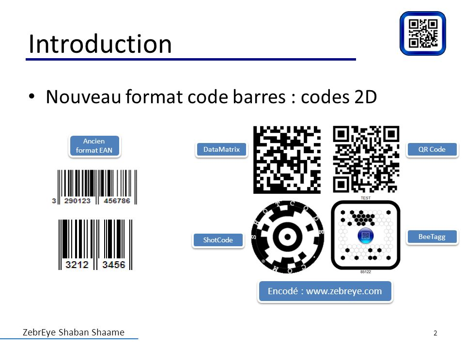 ZebrEye Shaban Shaame Introduction Nouveau format code barres : codes 2D Encodé : www.zebreye.com DataMatrix QR Code BeeTagg ShotCode Ancien format EA