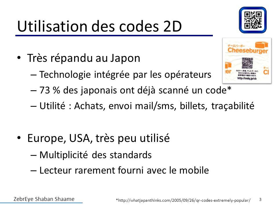 ZebrEye Shaban Shaame Utilisation des codes 2D Très répandu au Japon – Technologie intégrée par les opérateurs – 73 % des japonais ont déjà scanné un