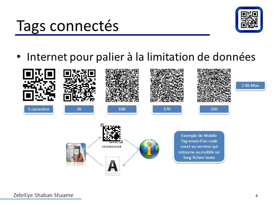 ZebrEye Shaban Shaame Tags connectés Internet pour palier à la limitation de données 2 Kb Max 1 caractère 26 108 170 250 Exemple de Mobile Tag envoi d