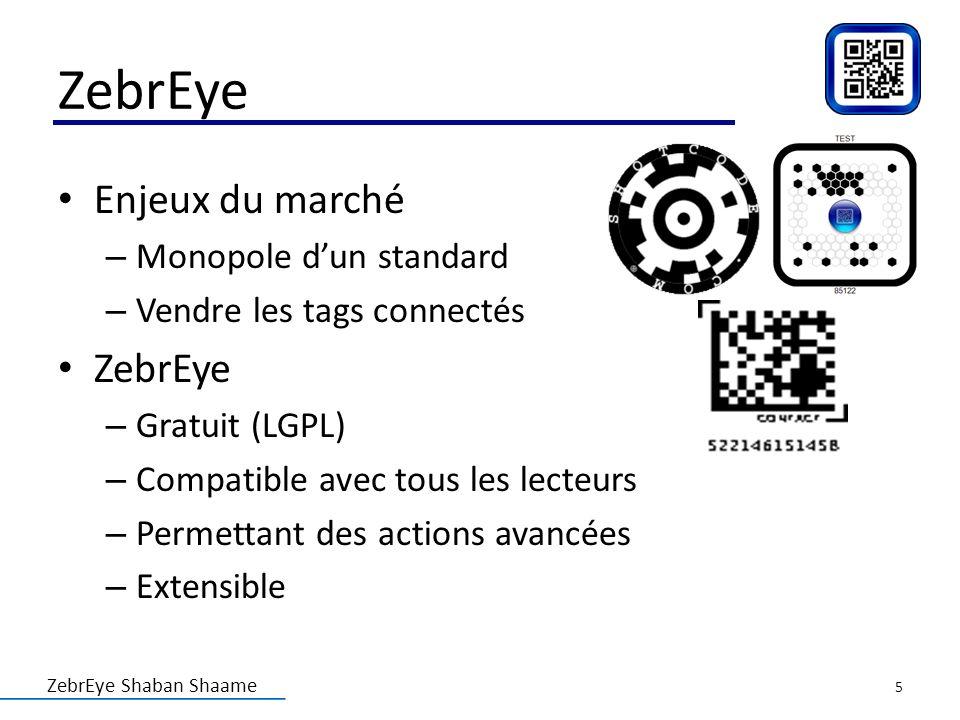 ZebrEye Shaban Shaame ZebrEye Enjeux du marché – Monopole dun standard – Vendre les tags connectés ZebrEye – Gratuit (LGPL) – Compatible avec tous les