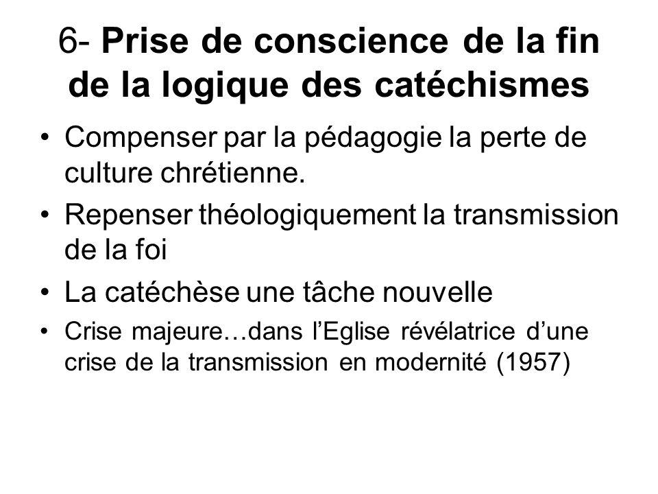 6- Prise de conscience de la fin de la logique des catéchismes Compenser par la pédagogie la perte de culture chrétienne.