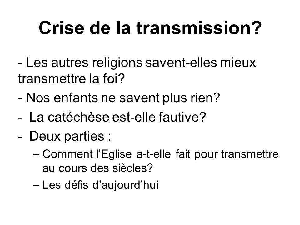 Crise de la transmission. - Les autres religions savent-elles mieux transmettre la foi.