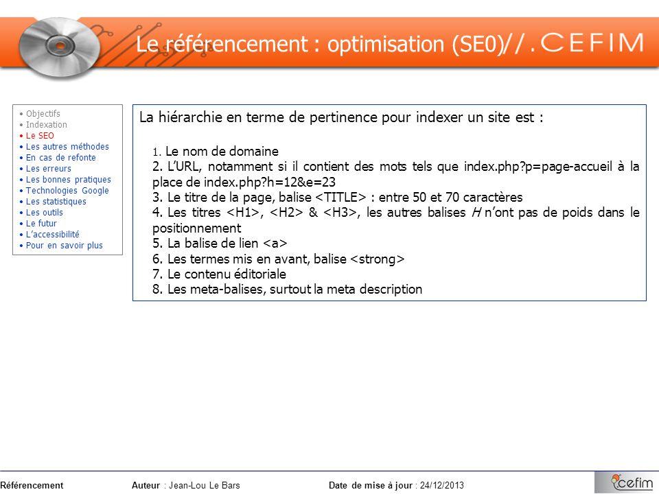RéférencementAuteur : Jean-Lou Le Bars Date de mise à jour : 24/12/2013 La hiérarchie en terme de pertinence pour indexer un site est : 1. Le nom de d