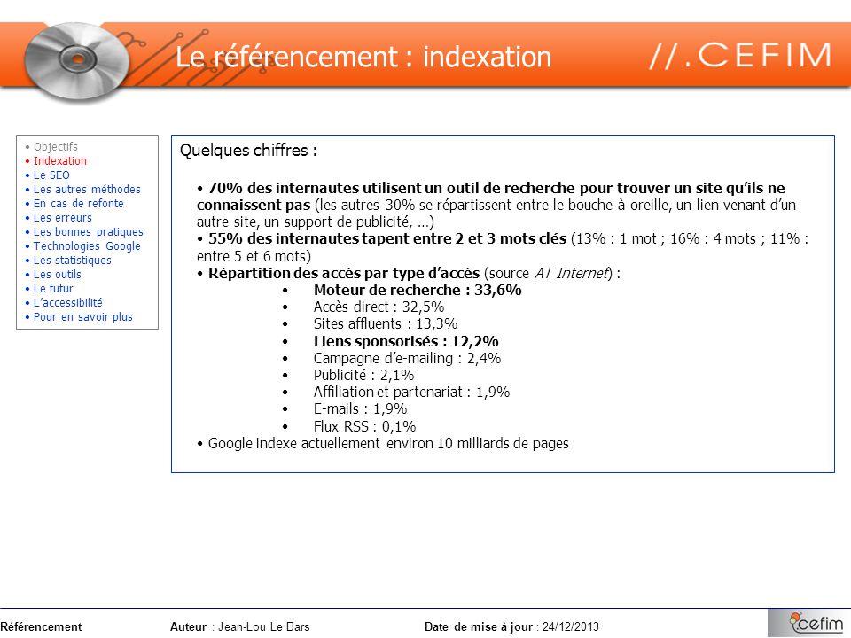RéférencementAuteur : Jean-Lou Le Bars Date de mise à jour : 24/12/2013 Quelques chiffres : 70% des internautes utilisent un outil de recherche pour t