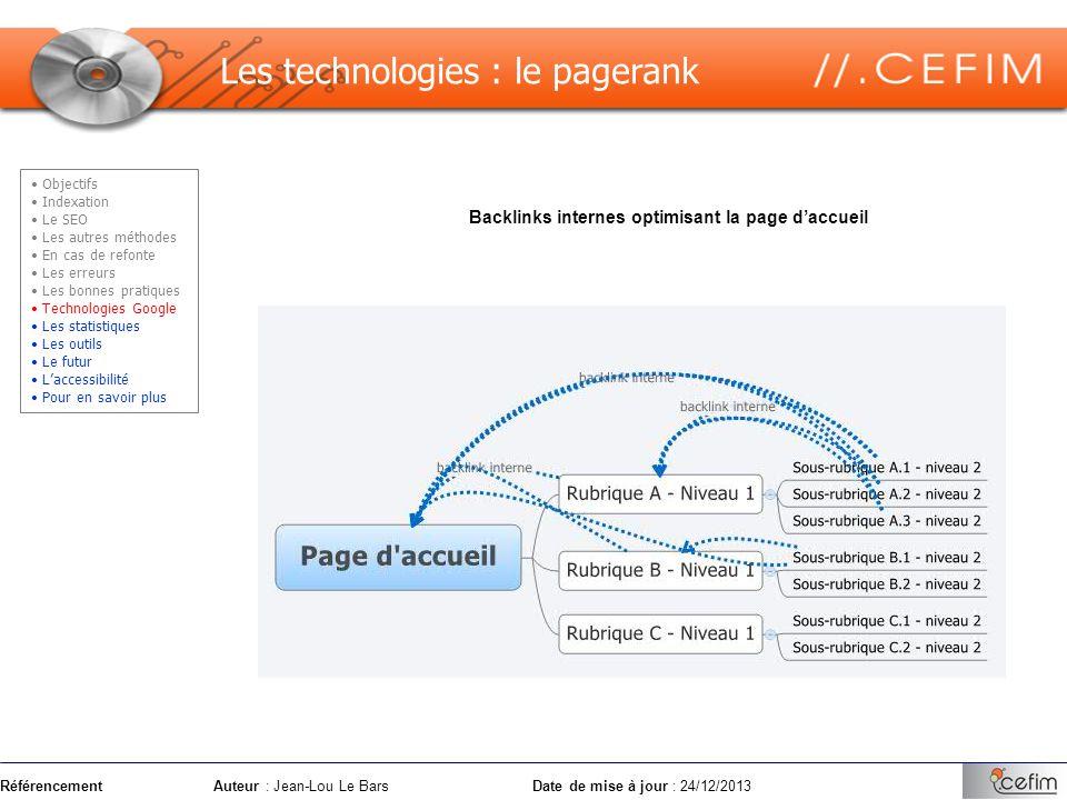 RéférencementAuteur : Jean-Lou Le Bars Date de mise à jour : 24/12/2013 Les technologies : le pagerank Backlinks internes optimisant la page daccueil
