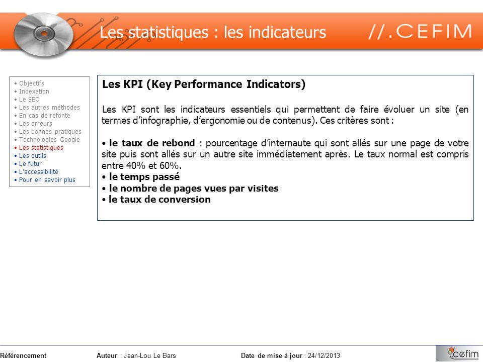 RéférencementAuteur : Jean-Lou Le Bars Date de mise à jour : 24/12/2013 Les KPI (Key Performance Indicators) Les KPI sont les indicateurs essentiels q