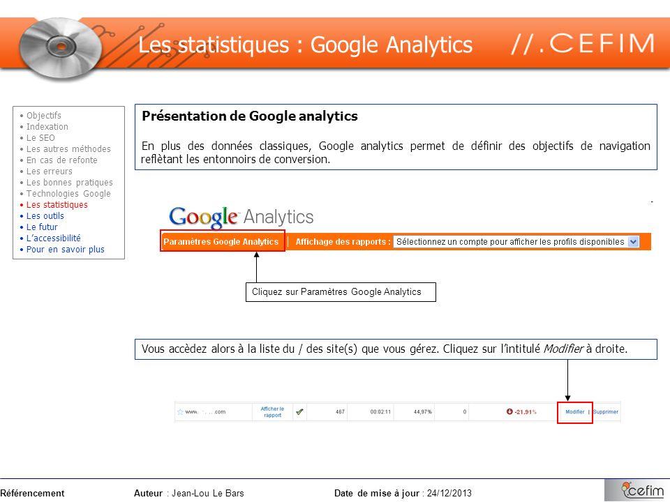 RéférencementAuteur : Jean-Lou Le Bars Date de mise à jour : 24/12/2013 Présentation de Google analytics En plus des données classiques, Google analyt