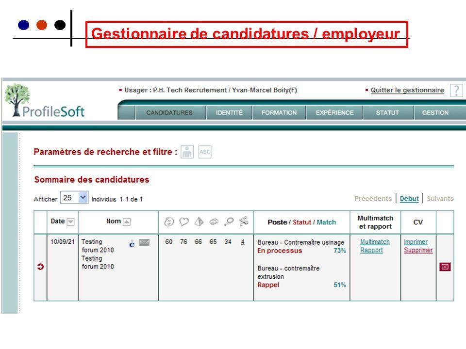 Gestionnaire de candidatures / employeur