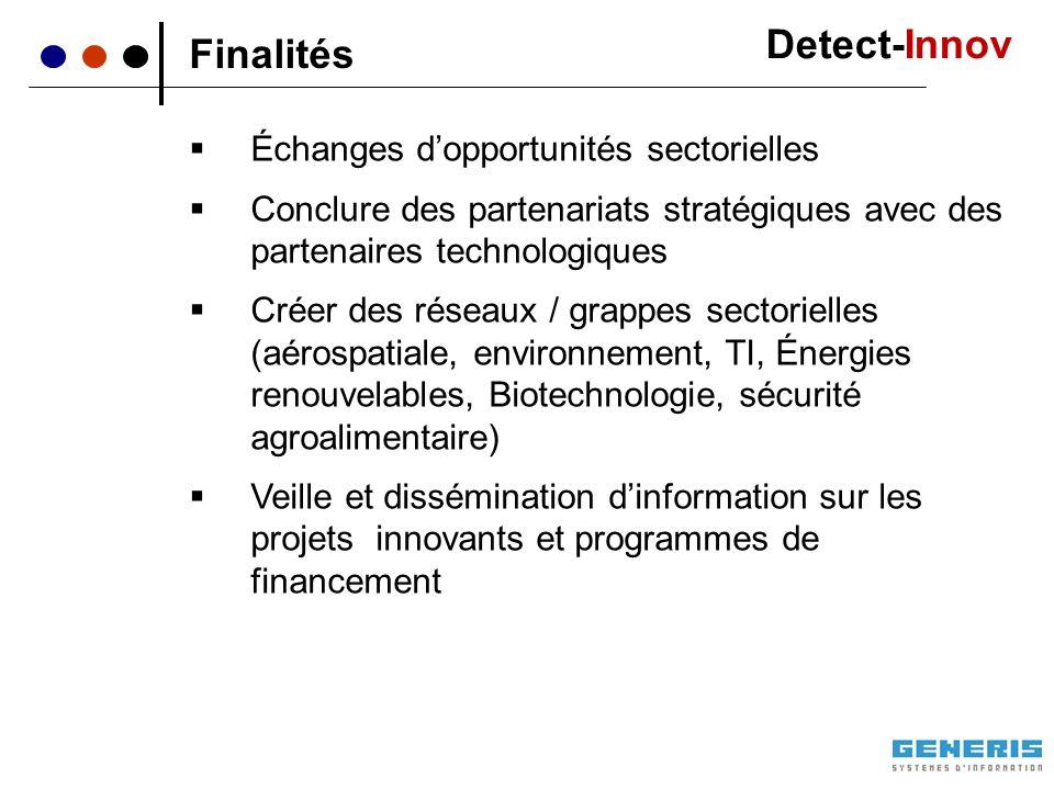 Finalités Échanges dopportunités sectorielles Conclure des partenariats stratégiques avec des partenaires technologiques Créer des réseaux / grappes s