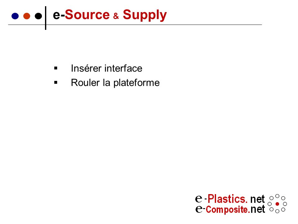 Insérer interface Rouler la plateforme e-Source & Supply