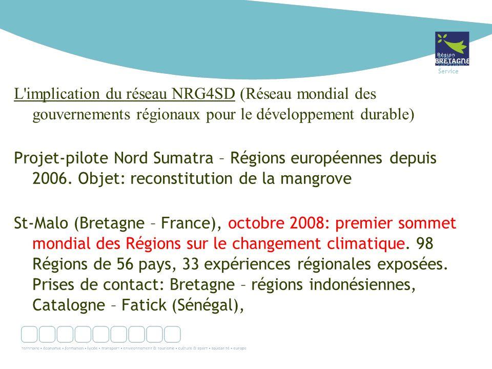 Pôle - Direction - Service L'implication du réseau NRG4SD (Réseau mondial des gouvernements régionaux pour le développement durable) Projet-pilote Nor