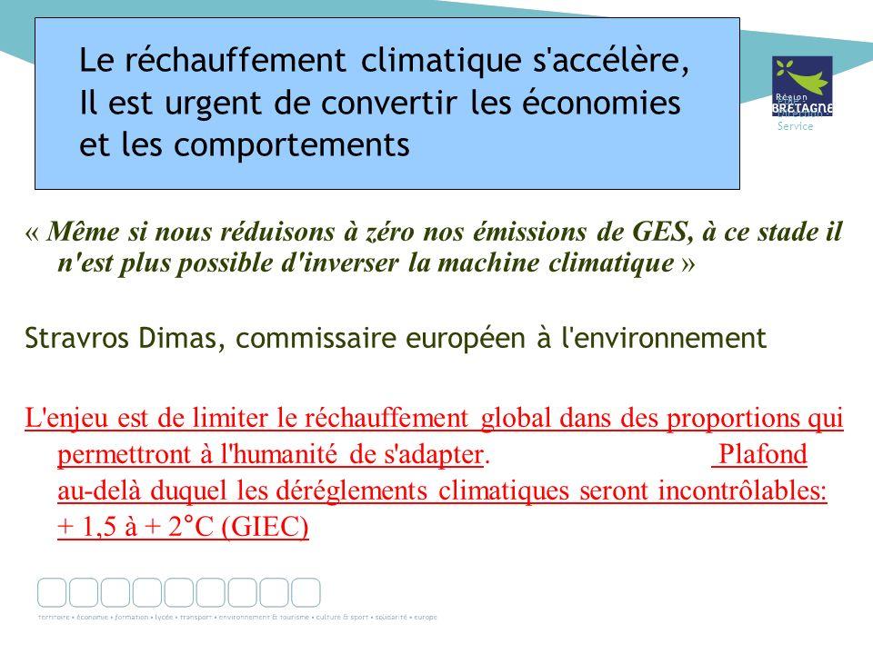 Pôle - Direction - Service « Même si nous réduisons à zéro nos émissions de GES, à ce stade il n est plus possible d inverser la machine climatique » Stravros Dimas, commissaire européen à l environnement L enjeu est de limiter le réchauffement global dans des proportions qui permettront à l humanité de s adapter.