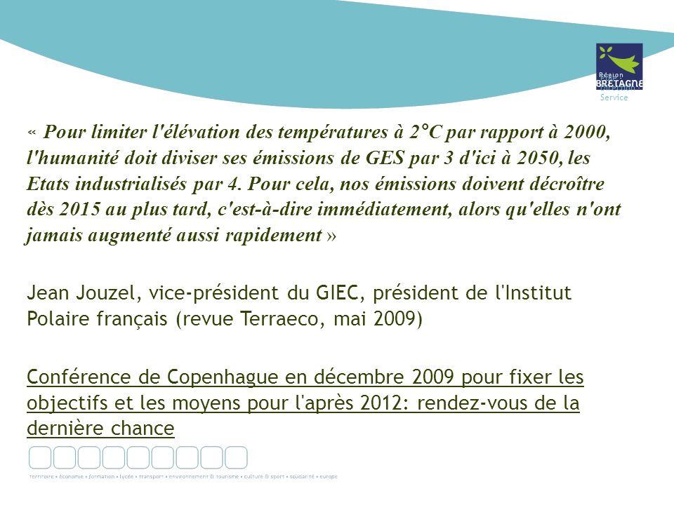 Pôle - Direction - Service « Pour limiter l élévation des températures à 2°C par rapport à 2000, l humanité doit diviser ses émissions de GES par 3 d ici à 2050, les Etats industrialisés par 4.