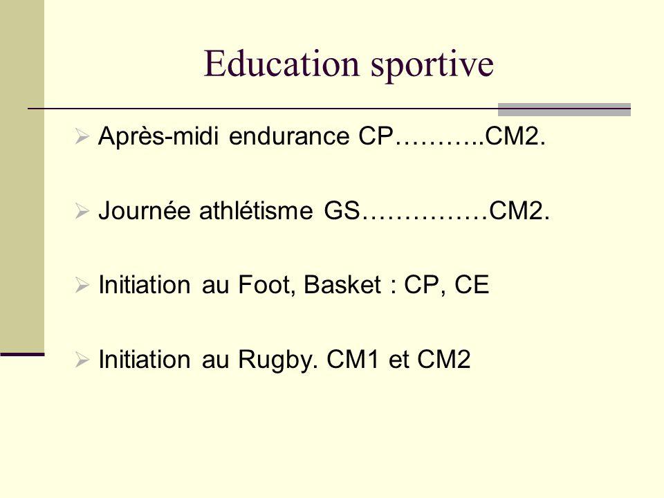 Education sportive Après-midi endurance CP………..CM2. Journée athlétisme GS……………CM2. Initiation au Foot, Basket : CP, CE Initiation au Rugby. CM1 et CM2