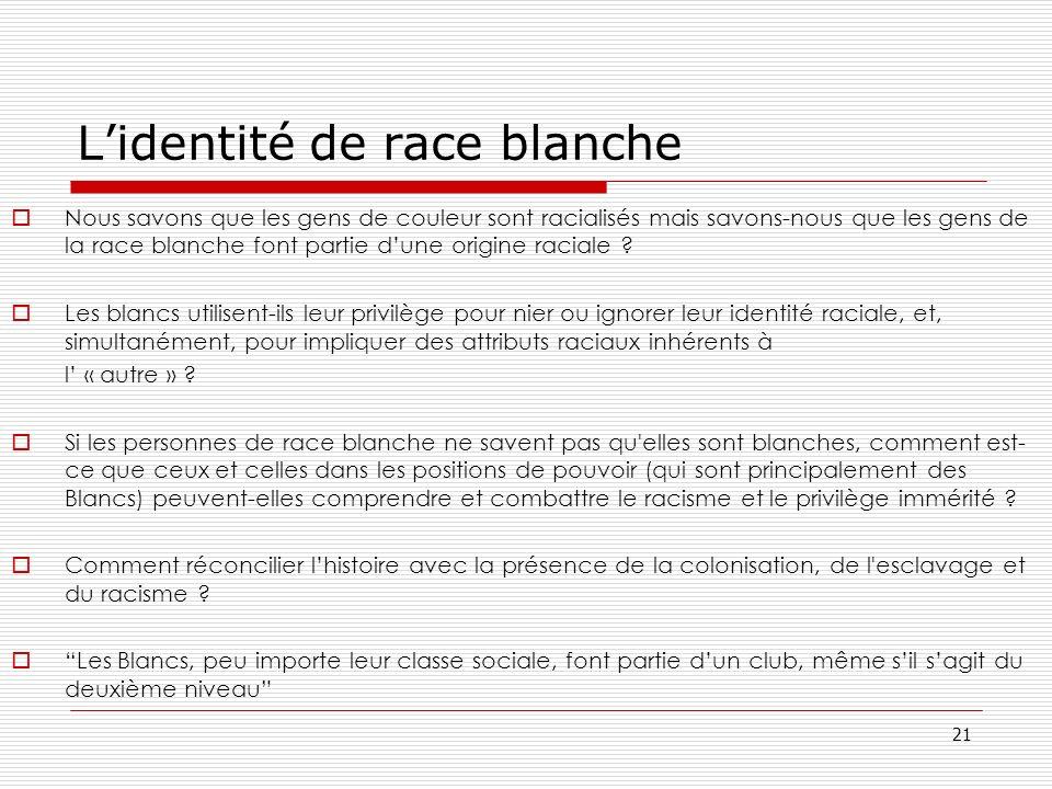 21 Lidentité de race blanche Nous savons que les gens de couleur sont racialisés mais savons-nous que les gens de la race blanche font partie dune ori
