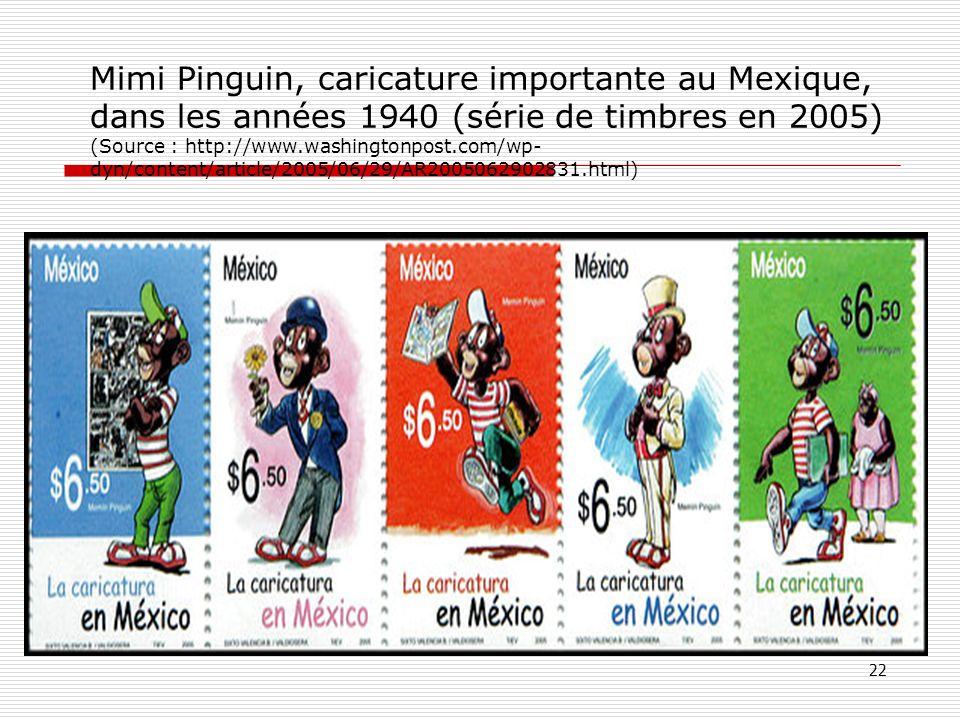 Mimi Pinguin, caricature importante au Mexique, dans les années 1940 (série de timbres en 2005) (Source : http://www.washingtonpost.com/wp- dyn/conten
