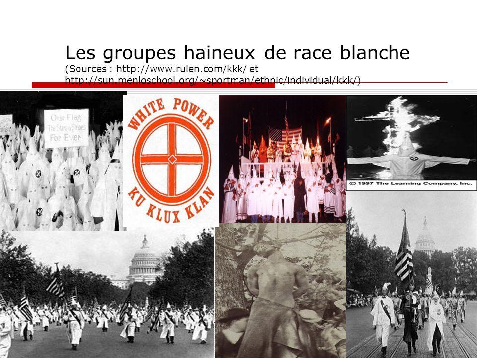 Les groupes haineux de race blanche (Sources : http://www.rulen.com/kkk/ et http://sun.menloschool.org/~sportman/ethnic/individual/kkk/) 26