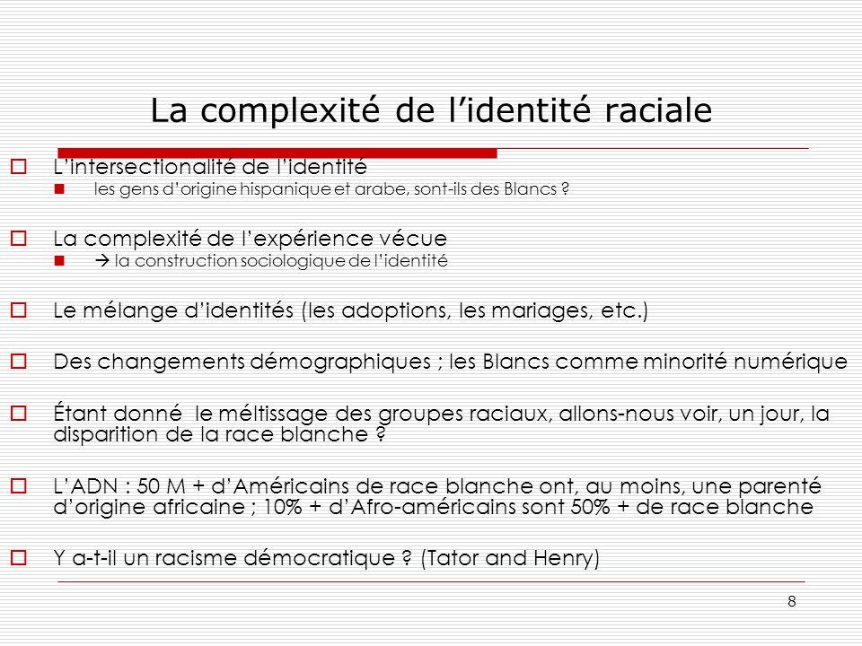 8 La complexité de lidentité raciale Lintersectionalité de lidentité les gens dorigine hispanique et arabe, sont-ils des Blancs ? La complexité de lex