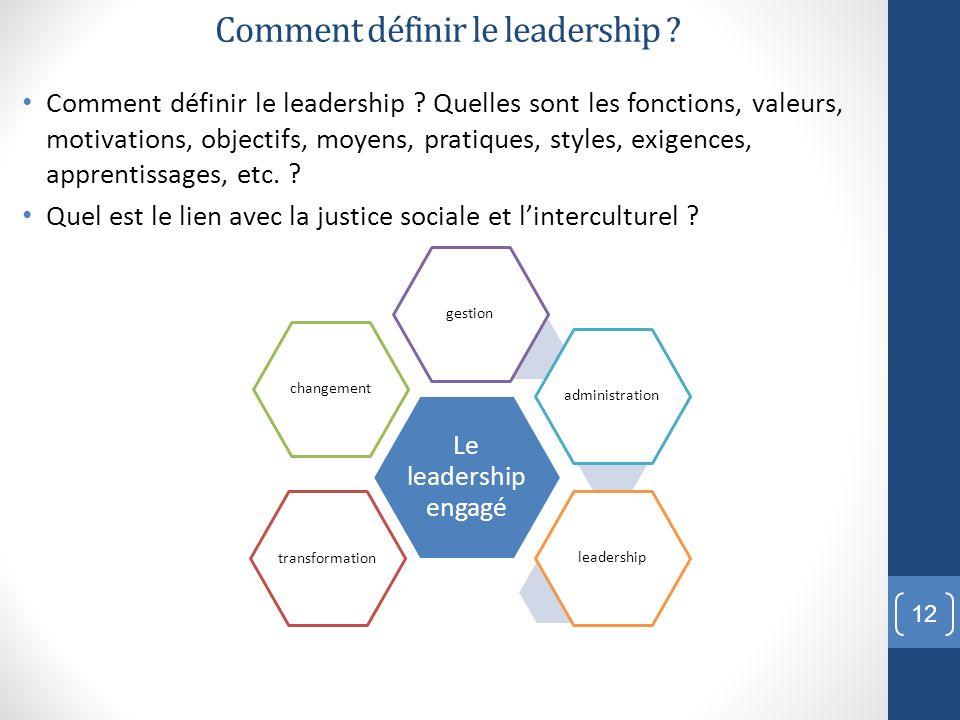 Comment définir le leadership ? Comment définir le leadership ? Quelles sont les fonctions, valeurs, motivations, objectifs, moyens, pratiques, styles