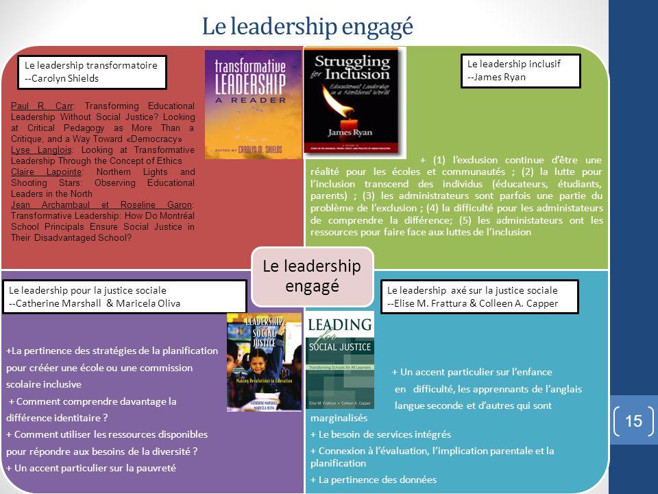 Le leadership engagé + (1) lexclusion continue dêtre une réalité pour les écoles et communautés ; (2) la lutte pour linclusion transcend des individus
