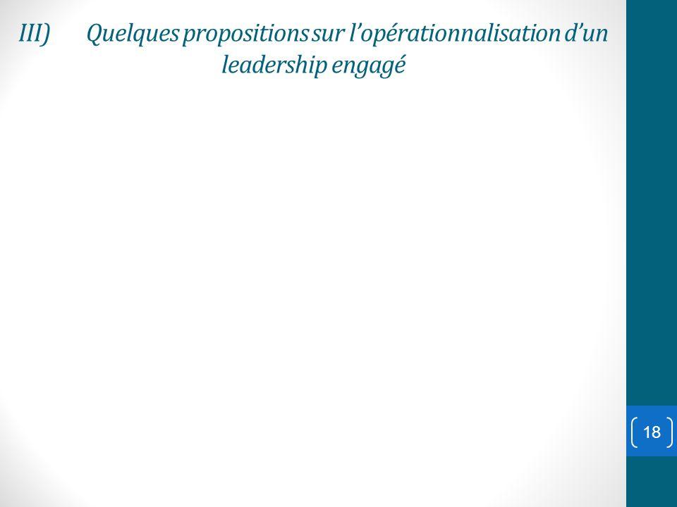 III)Quelques propositions sur lopérationnalisation dun leadership engagé 18