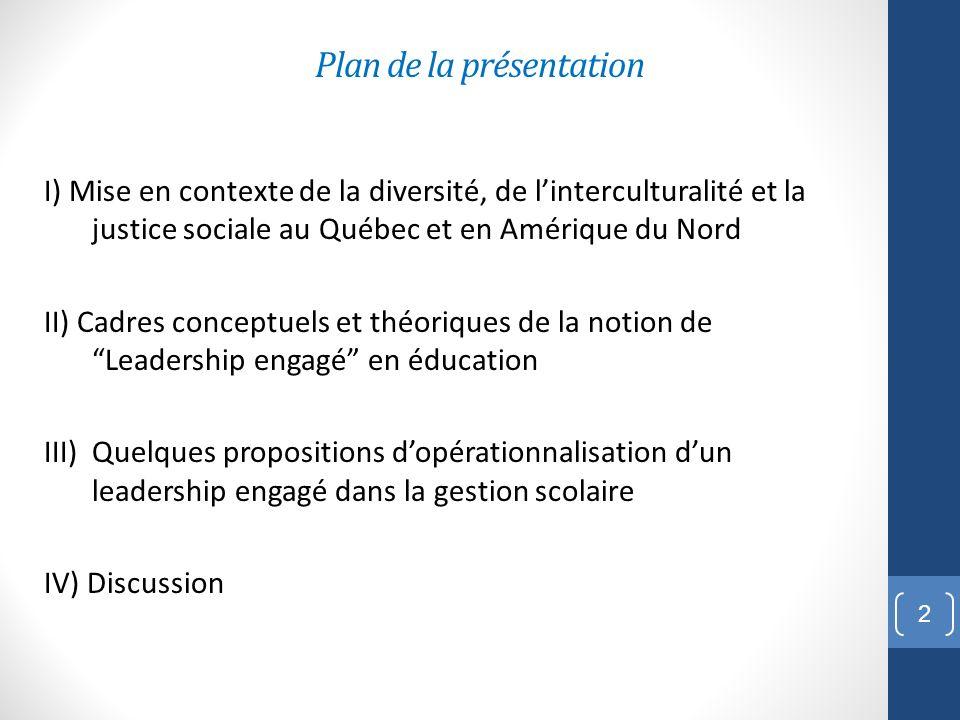 Plan de la présentation I) Mise en contexte de la diversité, de linterculturalité et la justice sociale au Québec et en Amérique du Nord II) Cadres co