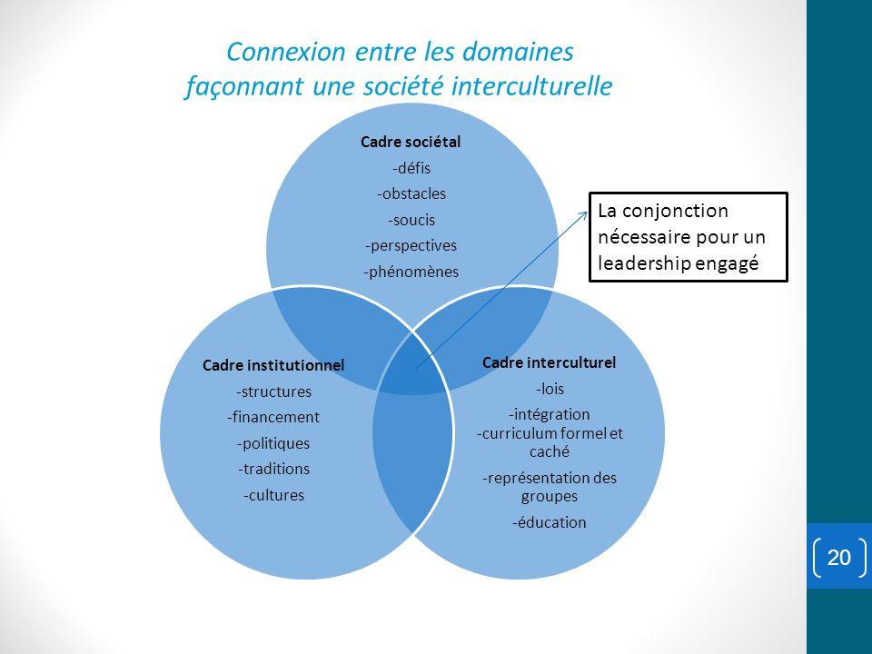 20 Cadre sociétal -défis -obstacles -soucis -perspectives -phénomènes Cadre interculturel -lois -intégration -curriculum formel et caché -représentati