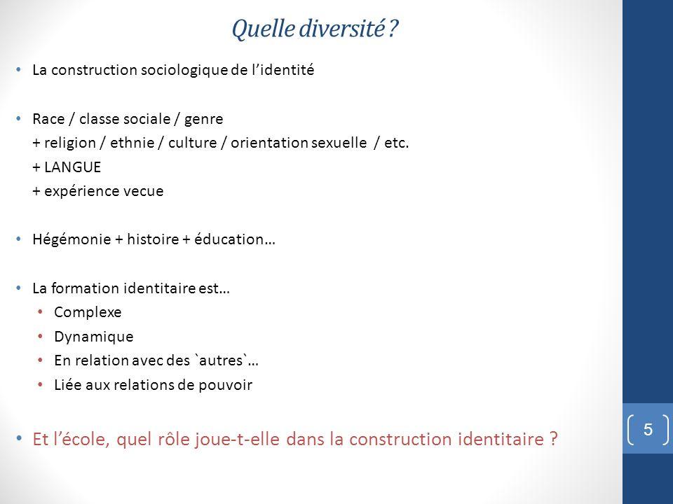Quelle diversité ? La construction sociologique de lidentité Race / classe sociale / genre + religion / ethnie / culture / orientation sexuelle / etc.