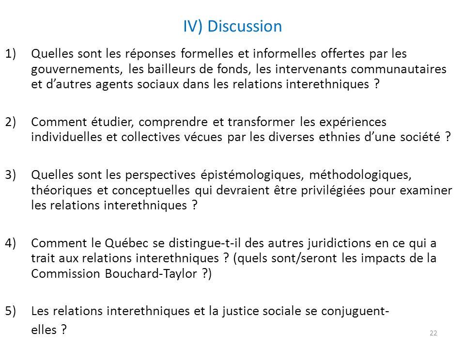IV) Discussion 1)Quelles sont les réponses formelles et informelles offertes par les gouvernements, les bailleurs de fonds, les intervenants communautaires et dautres agents sociaux dans les relations interethniques .