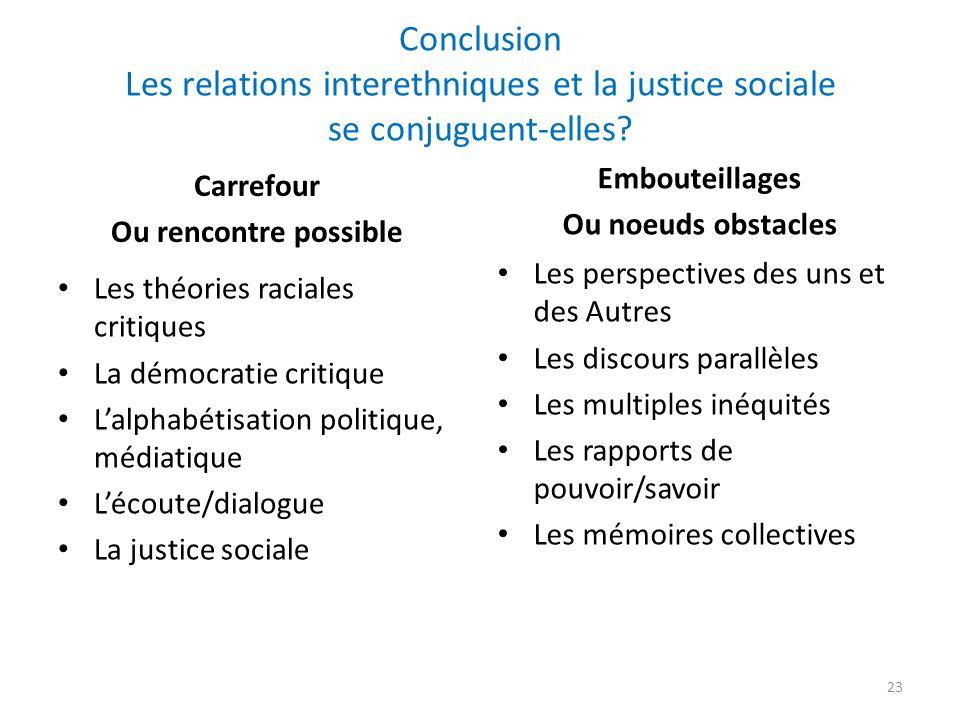 Conclusion Les relations interethniques et la justice sociale se conjuguent-elles.