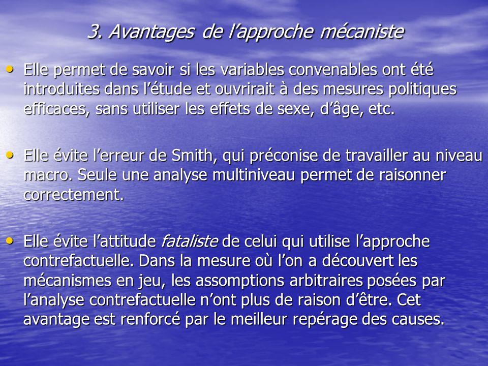 3. Avantages de lapproche mécaniste Elle permet de savoir si les variables convenables ont été introduites dans létude et ouvrirait à des mesures poli