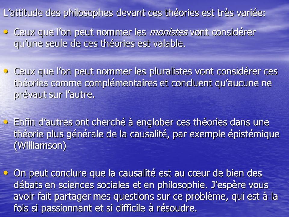 Lattitude des philosophes devant ces théories est très variée: Ceux que lon peut nommer les monistes vont considérer quune seule de ces théories est v