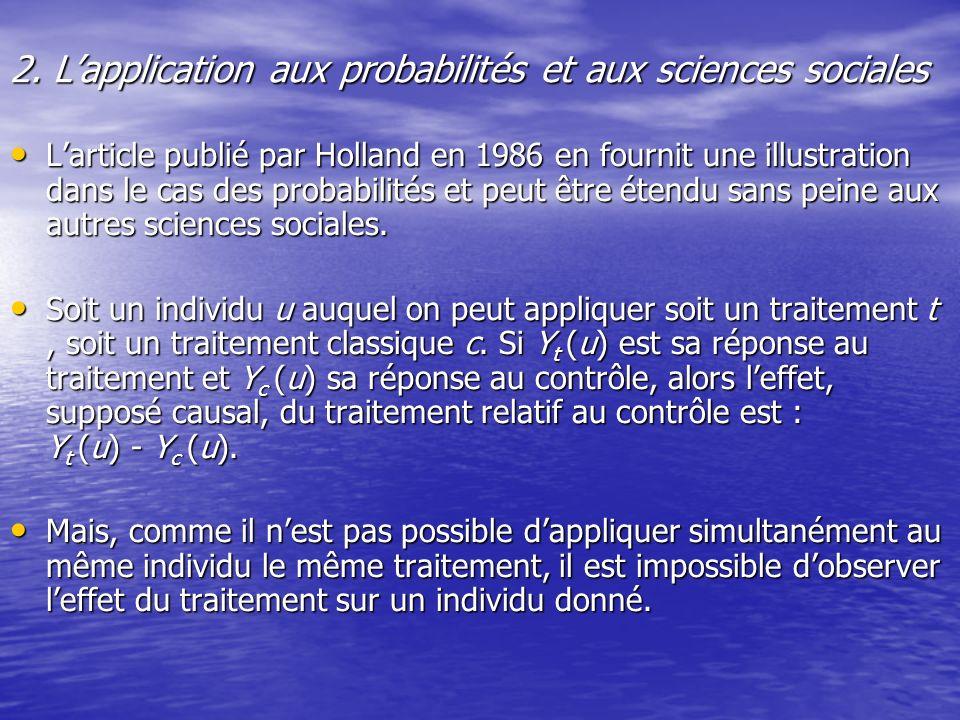 2. Lapplication aux probabilités et aux sciences sociales Larticle publié par Holland en 1986 en fournit une illustration dans le cas des probabilités