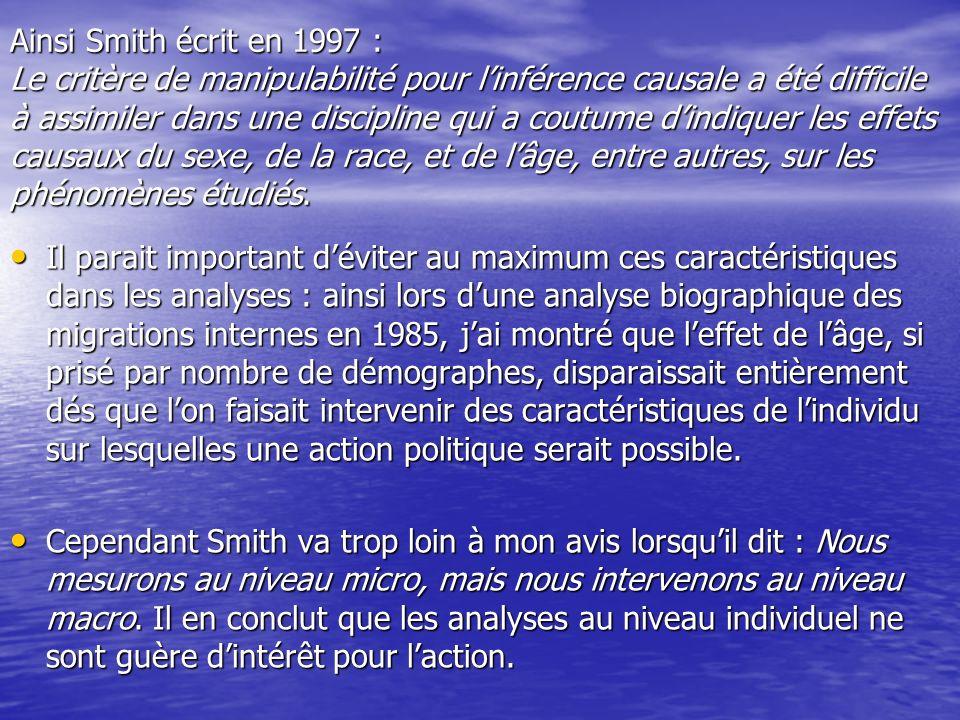 Ainsi Smith écrit en 1997 : Le critère de manipulabilité pour linférence causale a été difficile à assimiler dans une discipline qui a coutume dindiqu