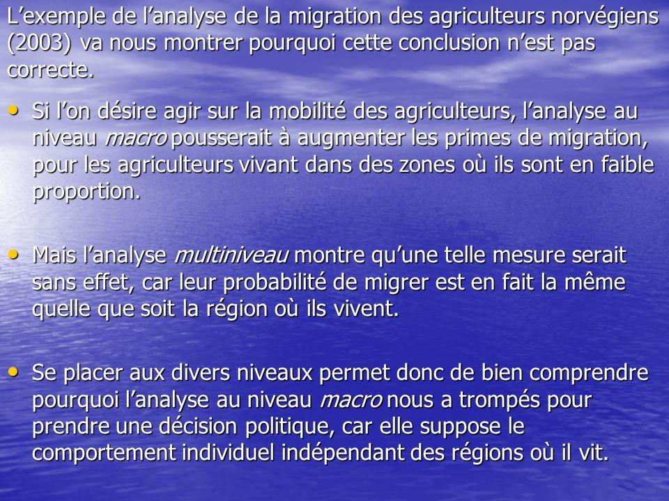 Lexemple de lanalyse de la migration des agriculteurs norvégiens (2003) va nous montrer pourquoi cette conclusion nest pas correcte. Si lon désire agi